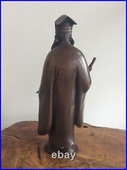 Japanese Old Man Bronze Statue / W 13×H 31.5cm 3.1kg / Meiji Period 1868-1912