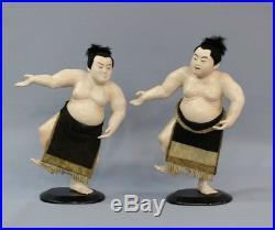 Japanese Old SUMO WRESTLER FIGURE / H 38cm MEIJI PERIOD 1868-1912