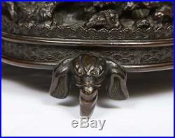 Japanese Patinated Bronze Figural Clock Vase, Meiji Period