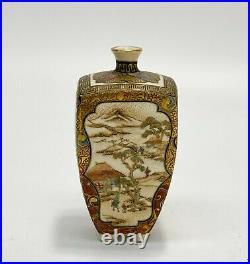 Japanese Satsuma Hand Painted Porcelain Miniature Vase, Meiji Period