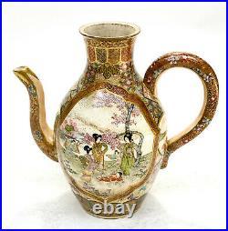 Japanese Satsuma Hand Painted Porcelain Teapot, Meiji Period