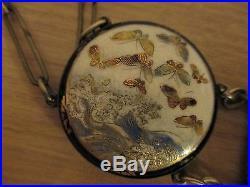 Japanese Satsuma Meiji Period 32 Porcelain Enamel Belt & Buckles Signed Fs