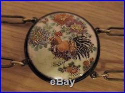 Japanese Satsuma Meiji Period 32 Porcelain Enamelled Belt & Buckles Signed Fs