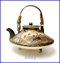 Japanese Satsuma Porcelain Hand Painted Miniature Teapot, Meiji Period