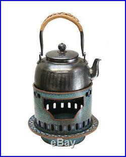 Japanese Silver Teapot and Cloisonne Enamel Stand, Meiji Period