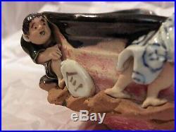 Japanese Sumida-gawa Porcelain Pottery Bowl 4 Mudman Pearl Divers Meiji Period