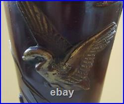 Japanese bronze vintage Victorian Meiji Period oriental antique tall vase