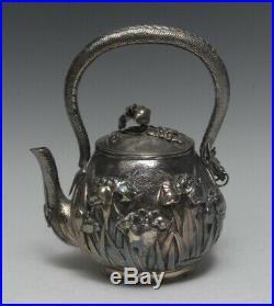 Japanese silver globular tea kettle, Meiji Period