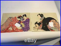 Japanese woodblock print shunga ukiyo-e antique EDO-MEIJI period 12 print Rare
