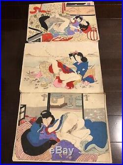 Japanese woodblock print shunga ukiyo-e antique EDO-MEIJI period 12 prints