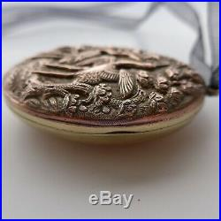LOCKET Japanese MEIJI Crane Lotus Aesthetic Period Mixed Metals Copper Detailed