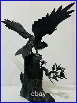 Large 19th Century Japanese Meiji Period Bronze Sculpture of Hawk / Bird of Pray