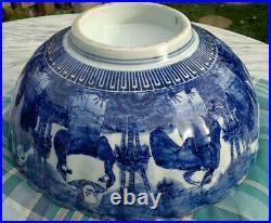 Large Antique Japanese Imari Porcelain Bowl Scalloped Rimmed Meiji Period 13dia