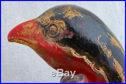 Large Antique Japanese Meiji Period Carved Lacquered Quail Bird Sculpture 11
