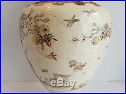 Large Antique Japanese Satsuma Vase Meiji Period 19th Century Floor Vase Geisha