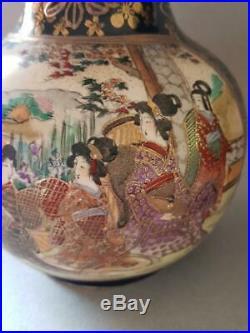 Large Antique Japanese Satsuma Vases Late Meiji/taisho Period