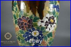 Large Antique Meiji Period Japanese Awaji Pottery Handpainted Drip Glaze Vase