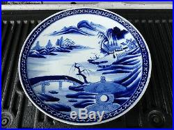 Large Antique Period Japanese Meiji Period Blue And White Charger Plate
