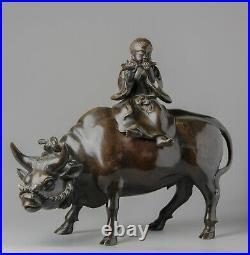 Large Antique Statue Bronze Koro Incense Burner Ox and Boy Japanese Meiji Period