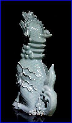 Large Celadon Porcelain Okimono of a Kirin Meiji Period
