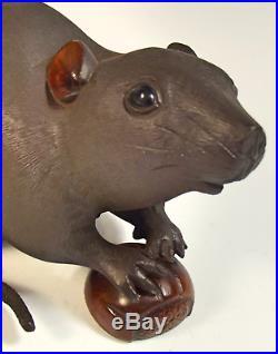 Large Japanese Meiji Period Bronze Rat Okimono