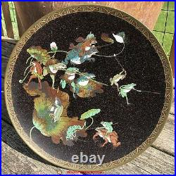 Large Magnificent Japanese Meiji Period Cloisonne Plate Charger Frogs Battle
