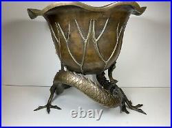 Large Meiji Period Bronze Dragon Lotus Jardinière 7KG