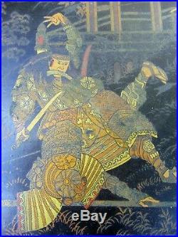 Large Meiji Period Japanese Black Lacquer Fighting Warriors Samurai Tray 24