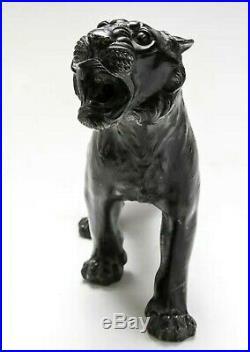 Large Meiji Period Japanese Okimono Tiger Patinated Bronze