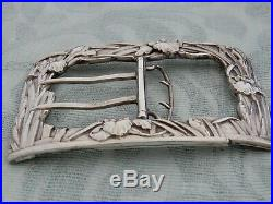 Large Original Japanese Meiji Period Art Nouveau Sterling Silver ladies Buckle