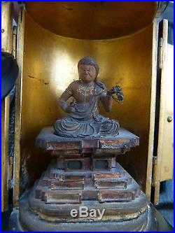 Late 19th C Japanese Meiji Period Wood Buddha In Lacquer Traveling Case