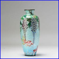 Lovely 19/20c Antique Meiji Period Japanese Vase Ginbari Goldfish Bronze Cloi