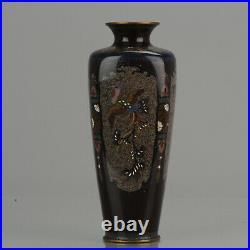 Lovely 19c Antique Meiji Period Japanese Bronze Cloisonne Vase Dragon Phoenix