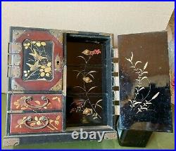 Lovely Antique Japanese Lacquer Table Cabinet Jewellery Late Meiji Period c. 1900