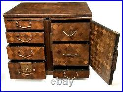 Lovely Antique Japanese Meiji Period Inlaid Campaign Travelling Box Jewelery