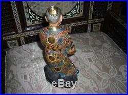 Lovely Antique Meiji Period Satsuma Japanese Porcelain Scholar Figurine 11 Tall