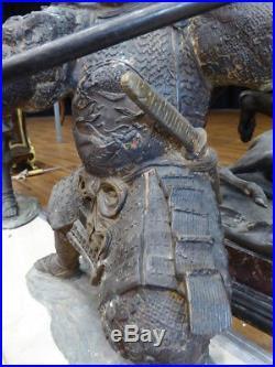 MEIJI PERIOD (1868-1912) JAPANESE SAMURAI WARRIOR STATUE Figure antique spear