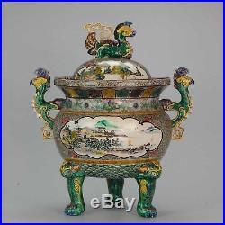Majestic Meiji/Taisho Period Kutani Japanese Porcelain Koro Phoenix Tripod An