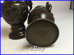 Matching Pair Of Japanese Meiji, Early Taisho Period Bronze Vases