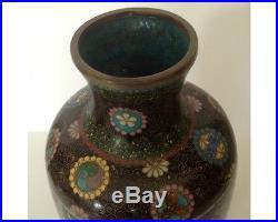 Meiji Period Antique Japanese Cloisonne Butterfly Vase