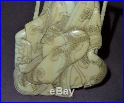Meiji Period Bovine Bone Two Dimensional Okimono Geisha Rare Item