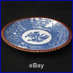Meiji Period Japanese Blue & White Porcelain Igezara plate with Kirin Design