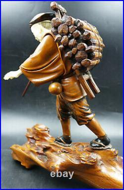 Meiji Period Japanese Boxwood Okimono Lumberjack Oversize Sculpture Signed Ryuun