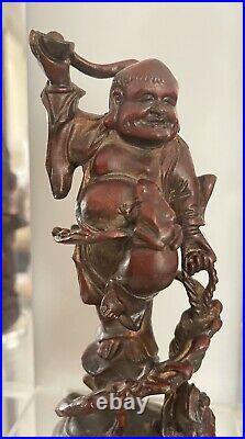 Meiji Period Japanese Bronze Buddha Figurine With Frog Figures