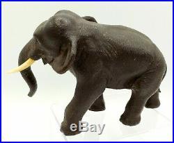 Meiji Period Japanese Bronze Elephant Artist Signed Art Sculpture Statue