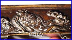 Meiji Period Japanese Dragon And Turtle High Relief Bronze Planter