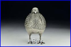 Meiji Period Japanese Figural Silver Bird Censor with Shakudo Eyes & Gold Tongue
