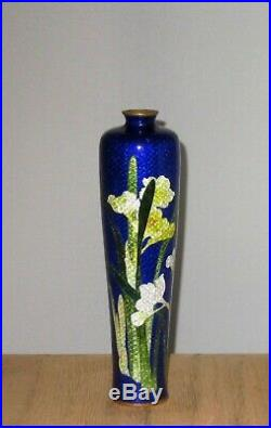 Meiji Period Japanese Ginbari Cloisonne Enamel Vase Brilliant Blue with Floral