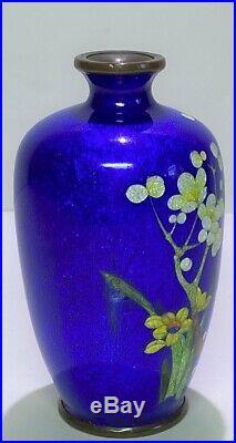 Meiji Period Japanese Ginbari Cloisonne Fruit Blossom Vase by Ota Jinnoei