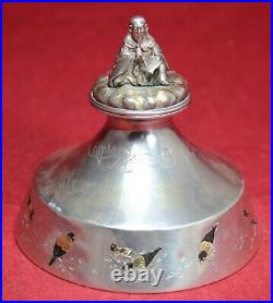 Meiji Period Japanese Jungin Pure Silver Inkwell with Figural Scribe & Finch
